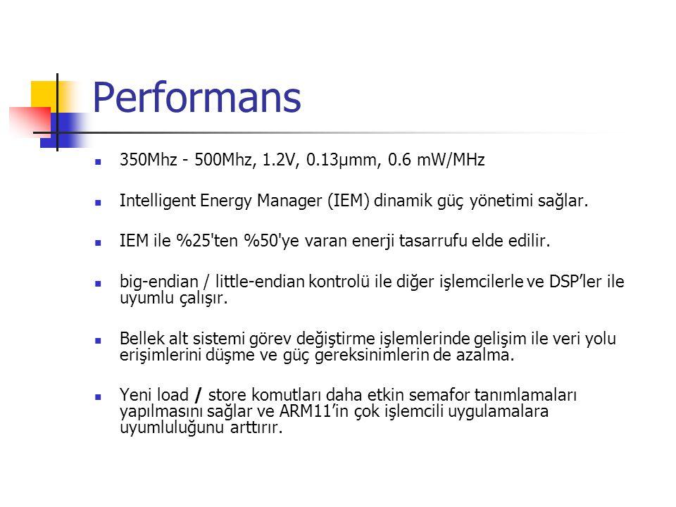 Performans 350Mhz - 500Mhz, 1.2V, 0.13µmm, 0.6 mW/MHz Intelligent Energy Manager (IEM) dinamik güç yönetimi sağlar.
