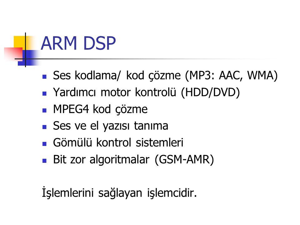ARM DSP Ses kodlama/ kod çözme (MP3: AAC, WMA) Yardımcı motor kontrolü (HDD/DVD) MPEG4 kod çözme Ses ve el yazısı tanıma Gömülü kontrol sistemleri Bit