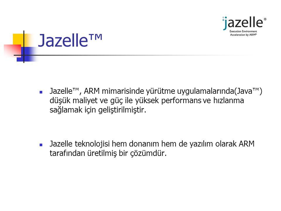 Jazelle™ Jazelle™, ARM mimarisinde yürütme uygulamalarında(Java™) düşük maliyet ve güç ile yüksek performans ve hızlanma sağlamak için geliştirilmişti