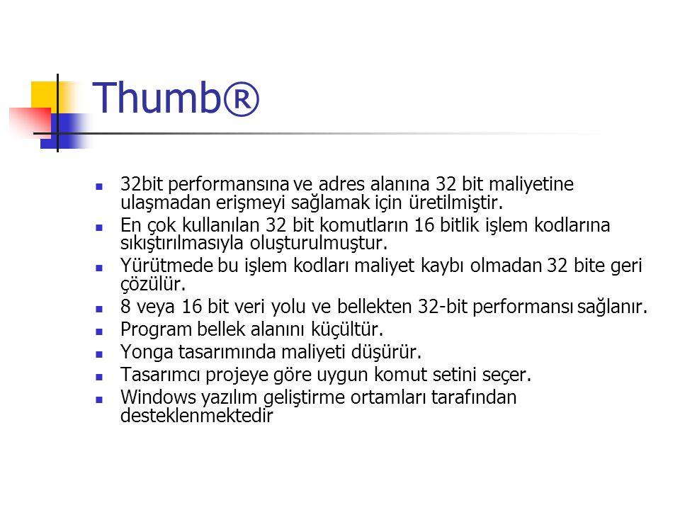 Thumb® 32bit performansına ve adres alanına 32 bit maliyetine ulaşmadan erişmeyi sağlamak için üretilmiştir. En çok kullanılan 32 bit komutların 16 bi