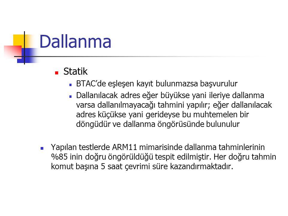 Dallanma Statik BTAC'de eşleşen kayıt bulunmazsa başvurulur Dallanılacak adres eğer büyükse yani ileriye dallanma varsa dallanılmayacağı tahmini yapılır; eğer dallanılacak adres küçükse yani gerideyse bu muhtemelen bir döngüdür ve dallanma öngörüsünde bulunulur Yapılan testlerde ARM11 mimarisinde dallanma tahminlerinin %85 inin doğru öngörüldüğü tespit edilmiştir.
