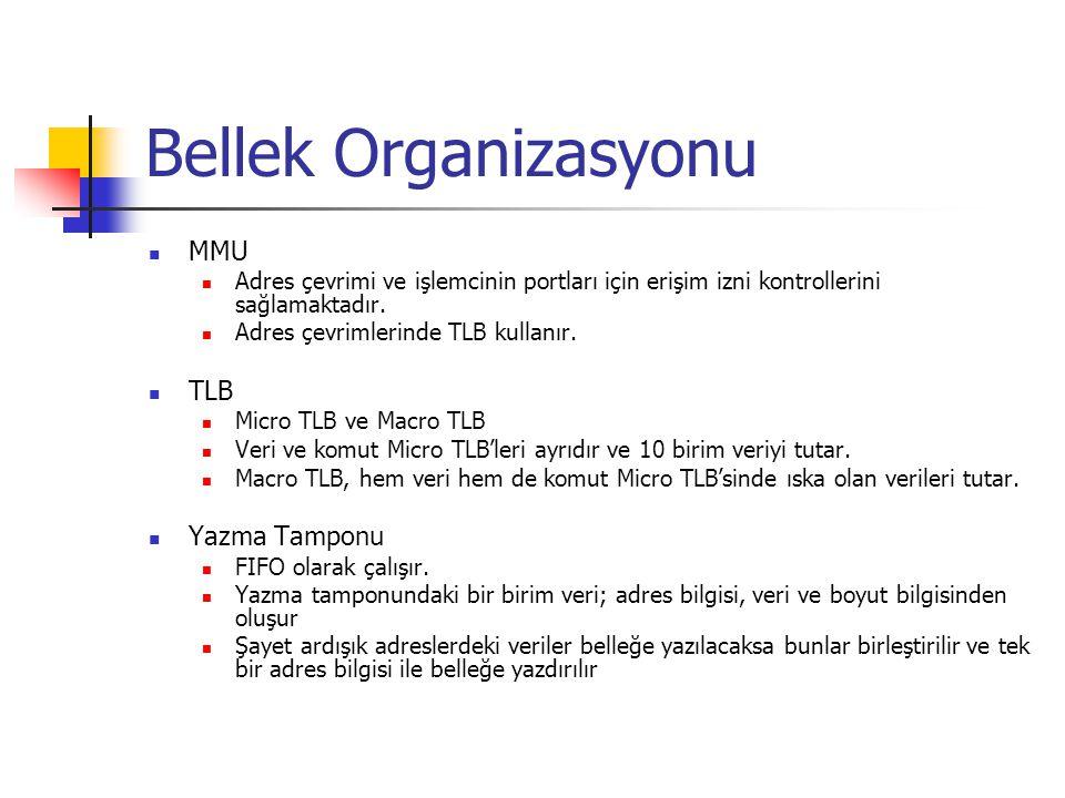 Bellek Organizasyonu MMU Adres çevrimi ve işlemcinin portları için erişim izni kontrollerini sağlamaktadır. Adres çevrimlerinde TLB kullanır. TLB Micr