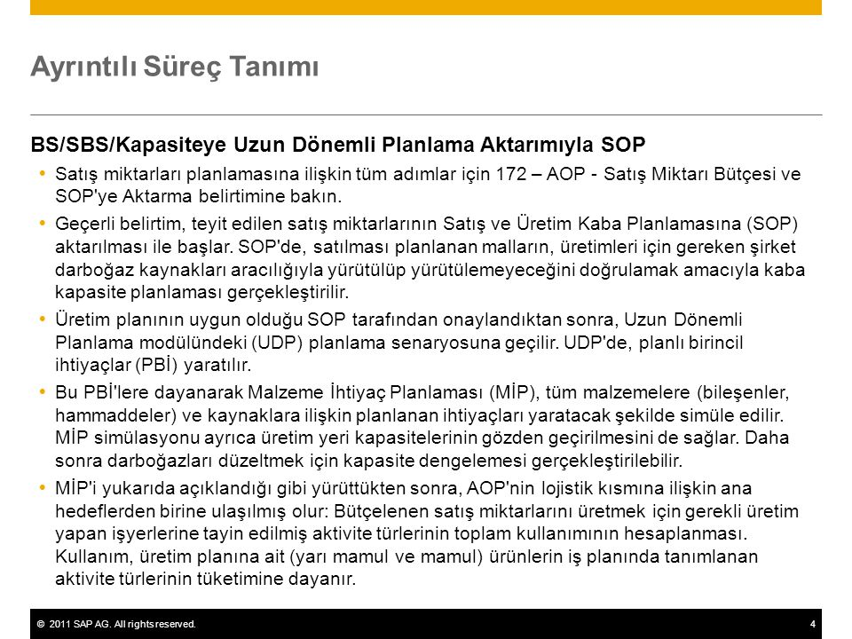 ©2011 SAP AG. All rights reserved.4 Ayrıntılı Süreç Tanımı BS/SBS/Kapasiteye Uzun Dönemli Planlama Aktarımıyla SOP  Satış miktarları planlamasına ili