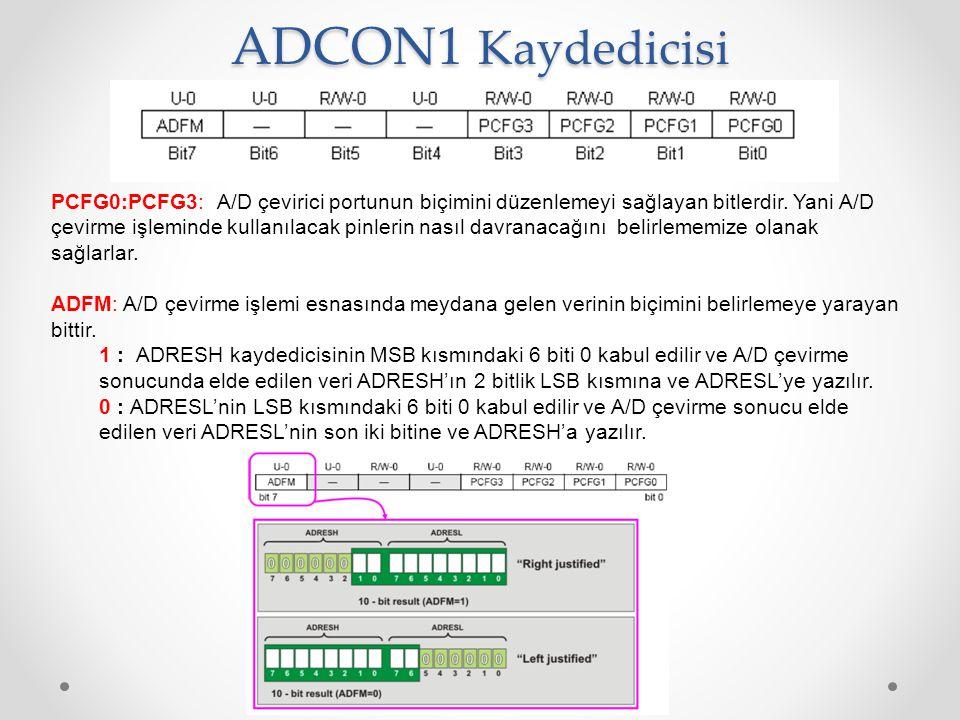 PCFG0:PCFG3: A/D çevirici portunun biçimini düzenlemeyi sağlayan bitlerdir. Yani A/D çevirme işleminde kullanılacak pinlerin nasıl davranacağını belir