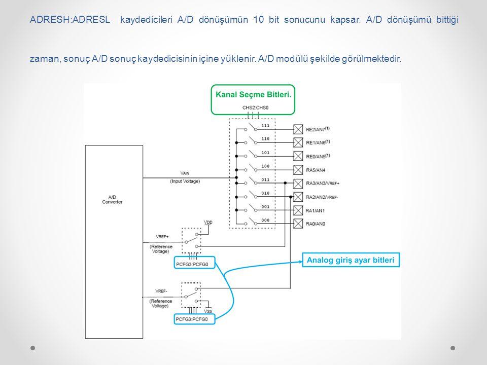 ADRESH:ADRESL kaydedicileri A/D dönüşümün 10 bit sonucunu kapsar. A/D dönüşümü bittiği zaman, sonuç A/D sonuç kaydedicisinin içine yüklenir. A/D modül
