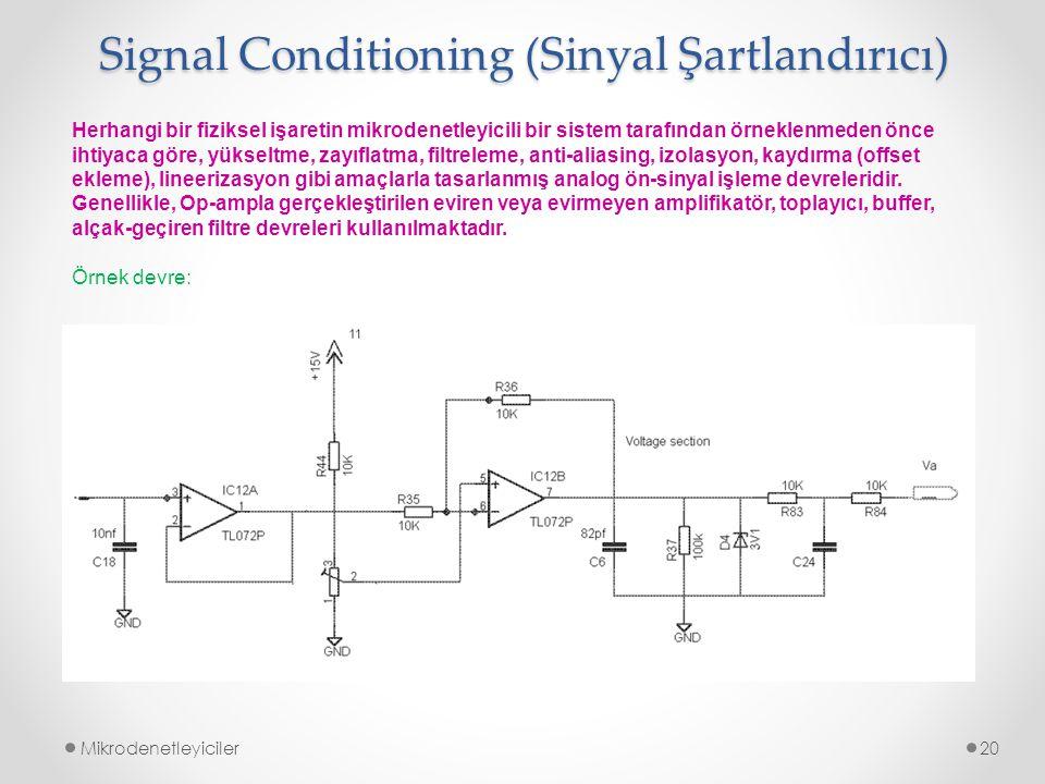 Signal Conditioning (Sinyal Şartlandırıcı) Mikrodenetleyiciler20 Herhangi bir fiziksel işaretin mikrodenetleyicili bir sistem tarafından örneklenmeden önce ihtiyaca göre, yükseltme, zayıflatma, filtreleme, anti-aliasing, izolasyon, kaydırma (offset ekleme), lineerizasyon gibi amaçlarla tasarlanmış analog ön-sinyal işleme devreleridir.