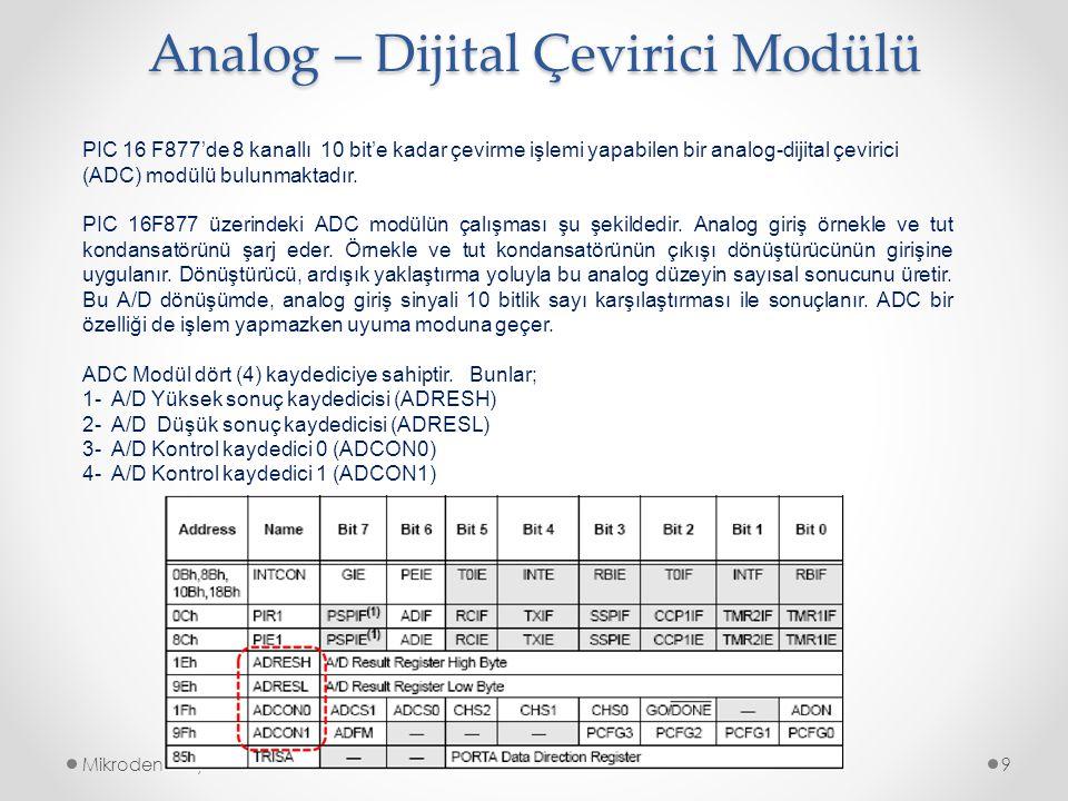 Analog – Dijital Çevirici Modülü Mikrodenetleyiciler9 PIC 16 F877'de 8 kanallı 10 bit'e kadar çevirme işlemi yapabilen bir analog-dijital çevirici (AD