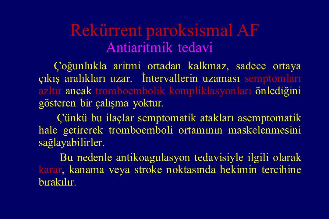 Rekürrent paroksismal AF Antiaritmik tedavi Çoğunlukla aritmi ortadan kalkmaz, sadece ortaya çıkış aralıkları uzar. İntervallerin uzaması semptomları