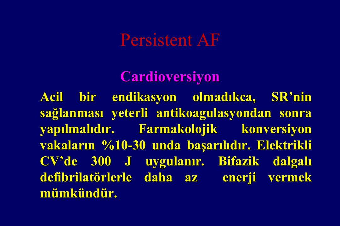 Persistent AF Cardioversiyon Acil bir endikasyon olmadıkca, SR'nin sağlanması yeterli antikoagulasyondan sonra yapılmalıdır. Farmakolojik konversiyon