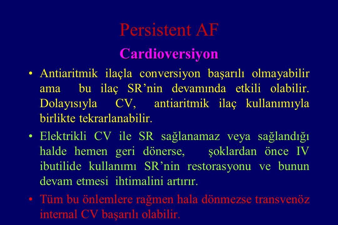 Persistent AF Cardioversiyon Antiaritmik ilaçla conversiyon başarılı olmayabilir ama bu ilaç SR'nin devamında etkili olabilir. Dolayısıyla CV, antiari