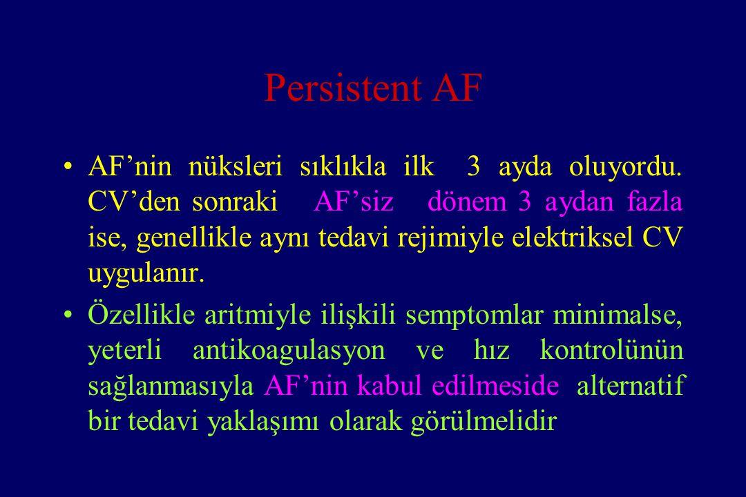 Persistent AF AF'nin nüksleri sıklıkla ilk 3 ayda oluyordu. CV'den sonraki AF'siz dönem 3 aydan fazla ise, genellikle aynı tedavi rejimiyle elektrikse