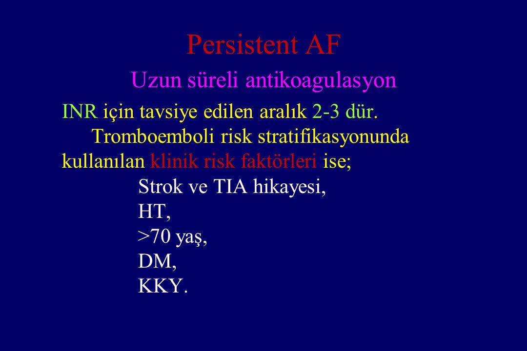 Persistent AF Uzun süreli antikoagulasyon INR için tavsiye edilen aralık 2-3 dür. Tromboemboli risk stratifikasyonunda kullanılan klinik risk faktörle