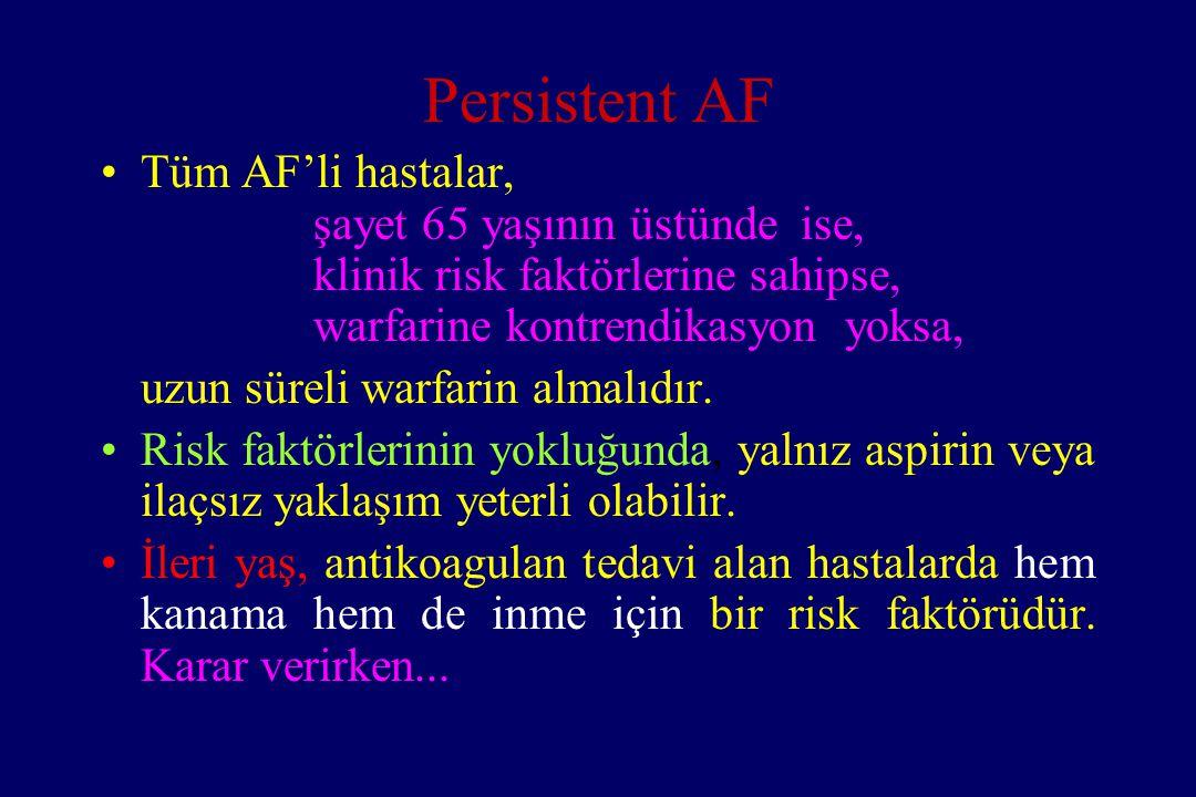 Persistent AF Tüm AF'li hastalar, şayet 65 yaşının üstünde ise, klinik risk faktörlerine sahipse, warfarine kontrendikasyon yoksa, uzun süreli warfari