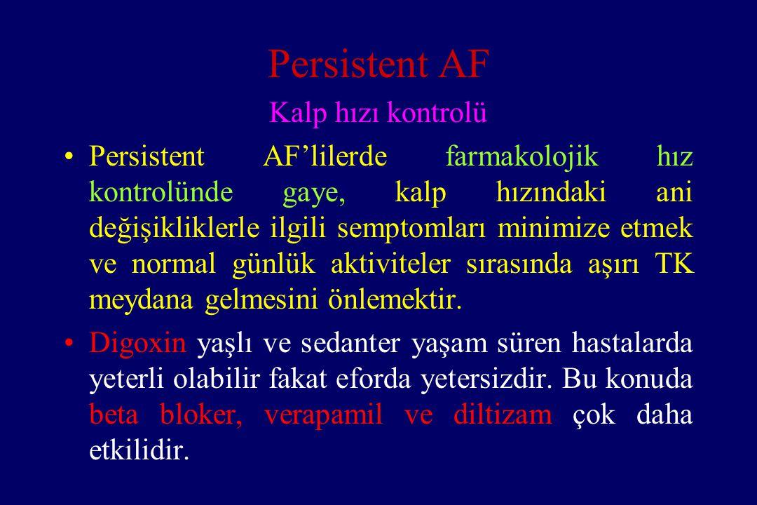 Persistent AF Kalp hızı kontrolü Persistent AF'lilerde farmakolojik hız kontrolünde gaye, kalp hızındaki ani değişikliklerle ilgili semptomları minimi