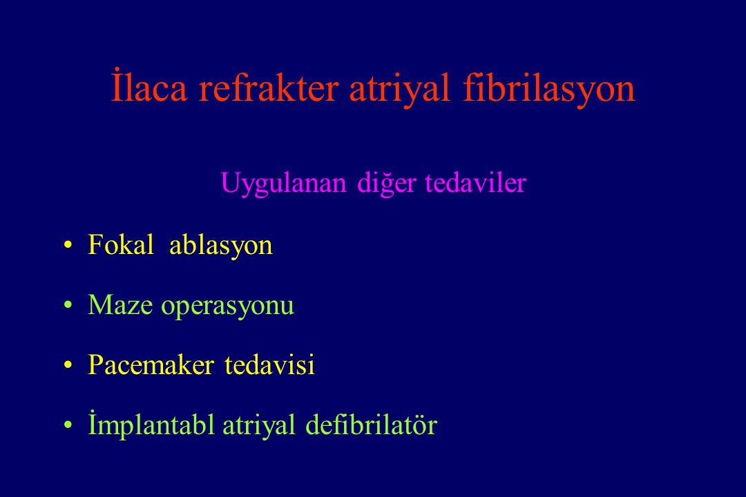 İlaca refrakter atriyal fibrilasyon Uygulanan diğer tedaviler Fokal ablasyon Maze operasyonu Pacemaker tedavisi İmplantabl atriyal defibrilatör