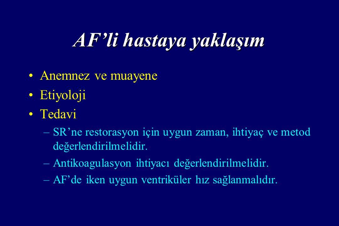 AF'li hastaya yaklaşım Anemnez ve muayene Etiyoloji Tedavi – –SR'ne restorasyon için uygun zaman, ihtiyaç ve metod değerlendirilmelidir. – –Antikoagul