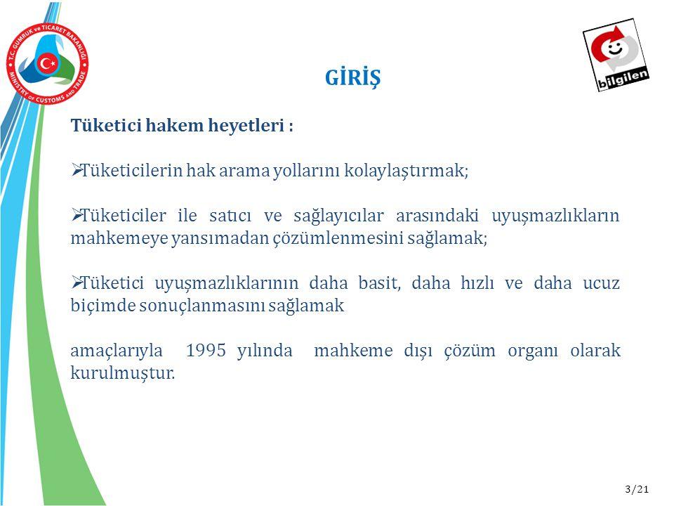 3/21 GİRİŞ Tüketici hakem heyetleri :  Tüketicilerin hak arama yollarını kolaylaştırmak;  Tüketiciler ile satıcı ve sağlayıcılar arasındaki uyuşmazl