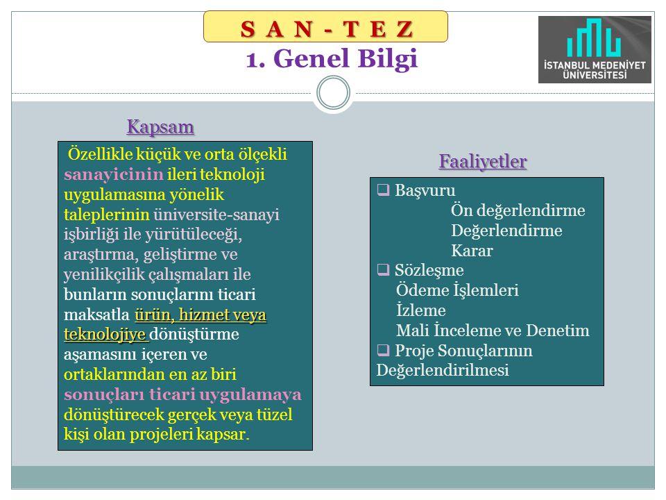 Kapsam Kapsam SAN-TEZ SAN-TEZ 1. Genel Bilgi  Başvuru Ön değerlendirme Değerlendirme Karar  Sözleşme Ödeme İşlemleri İzleme Mali İnceleme ve Denetim