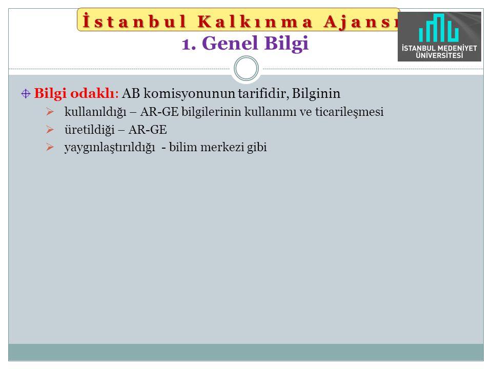 İstanbul Kalkınma Ajansı İstanbul Kalkınma Ajansı 1. Genel Bilgi Bilgi odaklı: AB komisyonunun tarifidir, Bilginin  kullanıldığı – AR-GE bilgilerinin