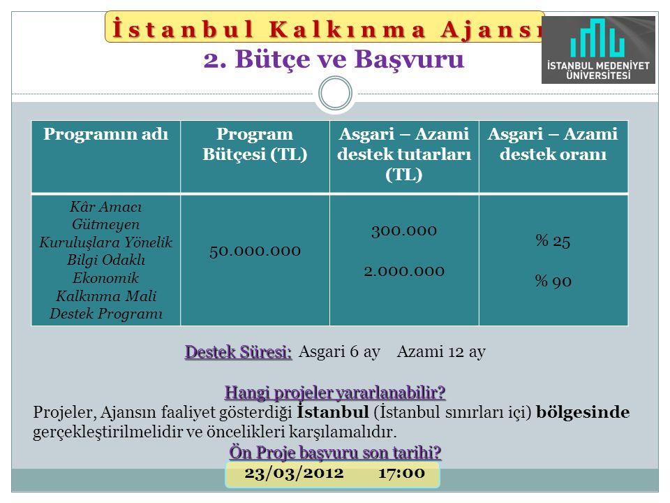 Destek Süresi: Destek Süresi: Asgari 6 ay Azami 12 ay Hangi projeler yararlanabilir? Projeler, Ajansın faaliyet gösterdiği İstanbul (İstanbul sınırlar