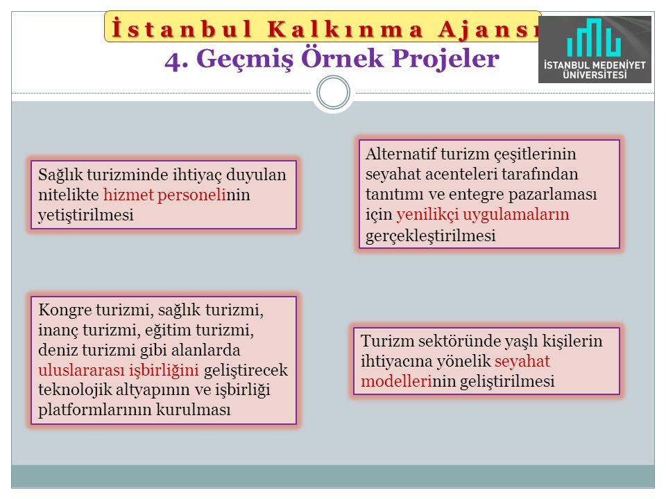 İstanbul Kalkınma Ajansı İstanbul Kalkınma Ajansı 4. Geçmiş Örnek Projeler Sağlık turizminde ihtiyaç duyulan nitelikte hizmet personelinin yetiştirilm