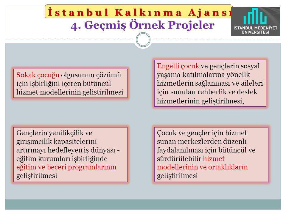 İstanbul Kalkınma Ajansı İstanbul Kalkınma Ajansı 4. Geçmiş Örnek Projeler Sokak çocuğu olgusunun çözümü için işbirliğini içeren bütüncül hizmet model