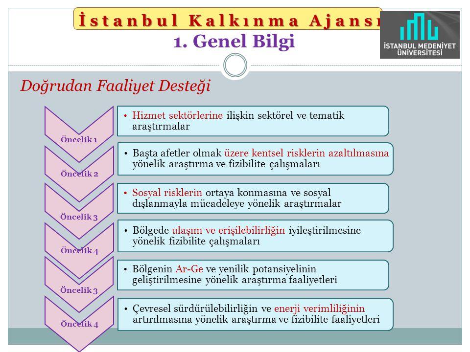 İstanbul Kalkınma Ajansı İstanbul Kalkınma Ajansı 1. Genel Bilgi Doğrudan Faaliyet Desteği Öncelik 1 Hizmet sektörlerine ilişkin sektörel ve tematik a