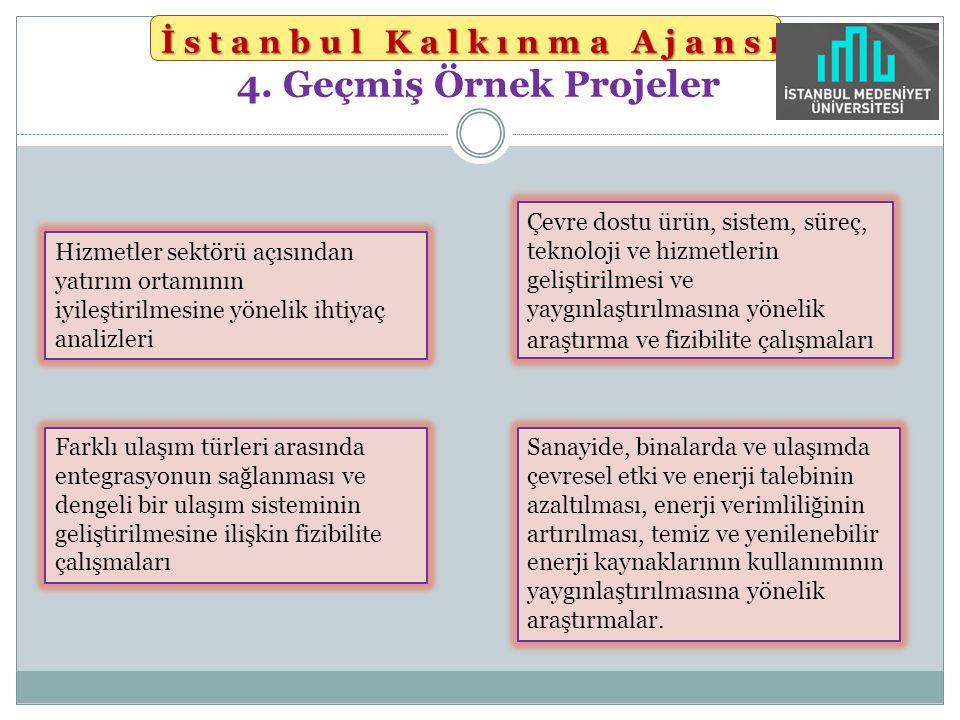 İstanbul Kalkınma Ajansı İstanbul Kalkınma Ajansı 4. Geçmiş Örnek Projeler Hizmetler sektörü açısından yatırım ortamının iyileştirilmesine yönelik iht