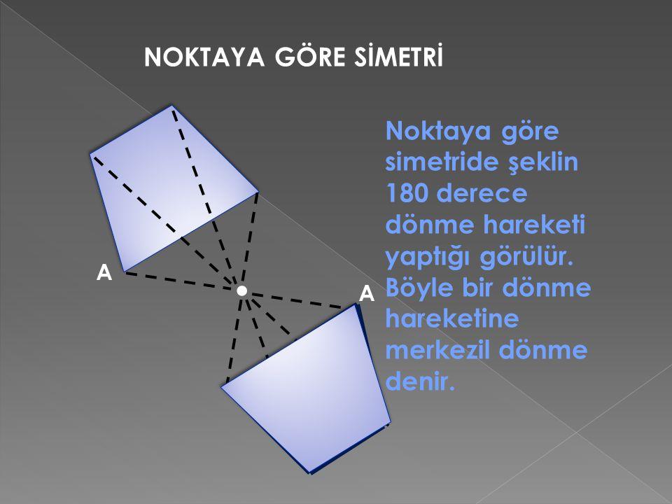 NOKTAYA GÖRE SİMETRİ. A A Noktaya göre simetride şeklin 180 derece dönme hareketi yaptığı görülür. Böyle bir dönme hareketine merkezil dönme denir.