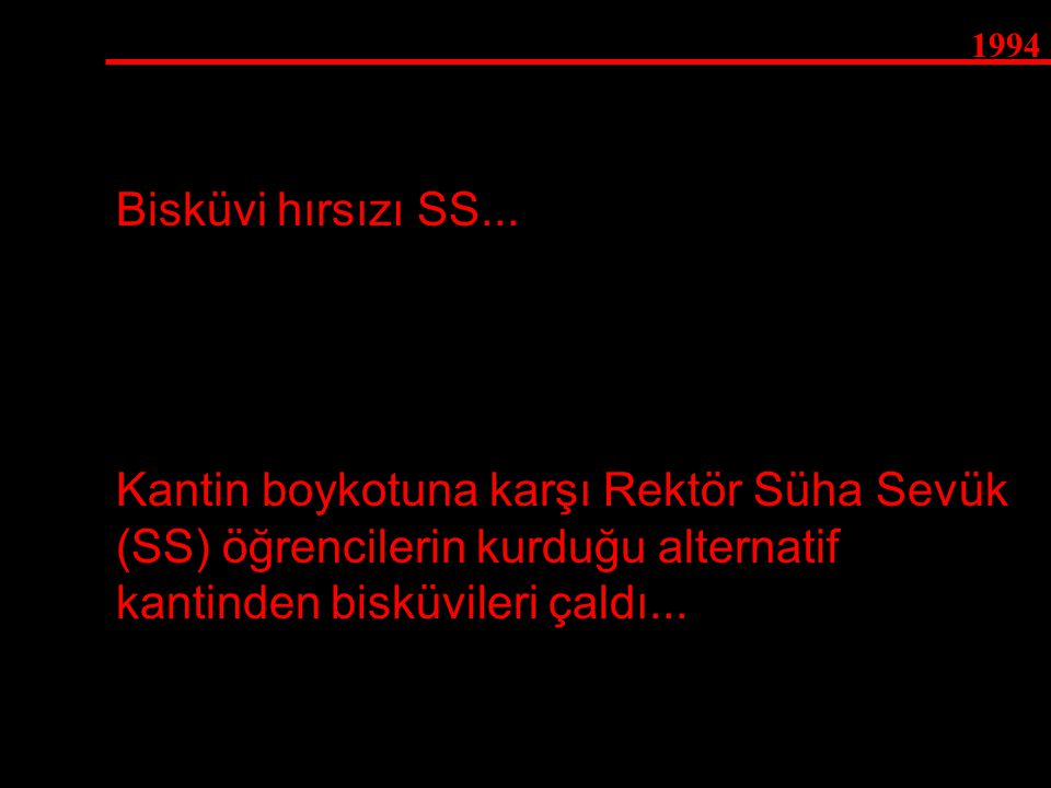 1994 Kantin boykotuna karşı Rektör Süha Sevük (SS) öğrencilerin kurduğu alternatif kantinden bisküvileri çaldı... Bisküvi hırsızı SS...