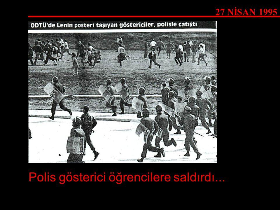Polis gösterici öğrencilere saldırdı...
