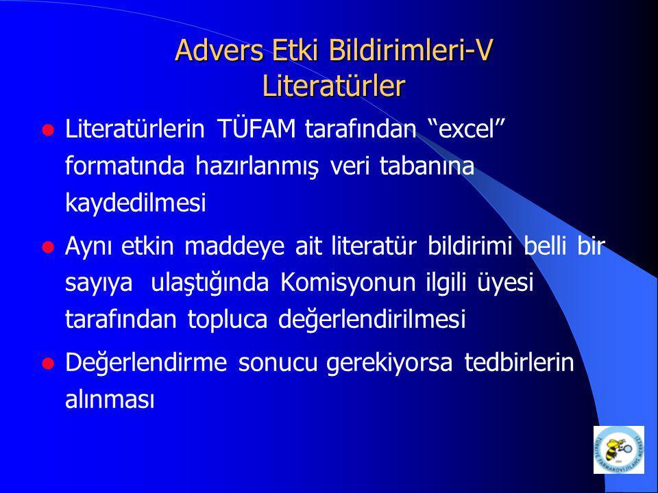 """Advers Etki Bildirimleri-V Literatürler Literatürlerin TÜFAM tarafından """"excel"""" formatında hazırlanmış veri tabanına kaydedilmesi Aynı etkin maddeye a"""