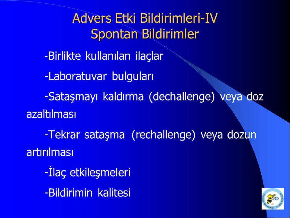 Advers Etki Bildirimleri-IV Spontan Bildirimler - Birlikte kullanılan ilaçlar -Laboratuvar bulguları -Sataşmayı kaldırma (dechallenge) veya doz azaltı