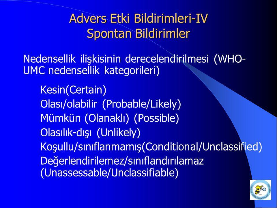 Advers Etki Bildirimleri-IV Spontan Bildirimler Nedensellik ilişkisinin derecelendirilmesi (WHO- UMC nedensellik kategorileri) Kesin(Certain) Olası/ol