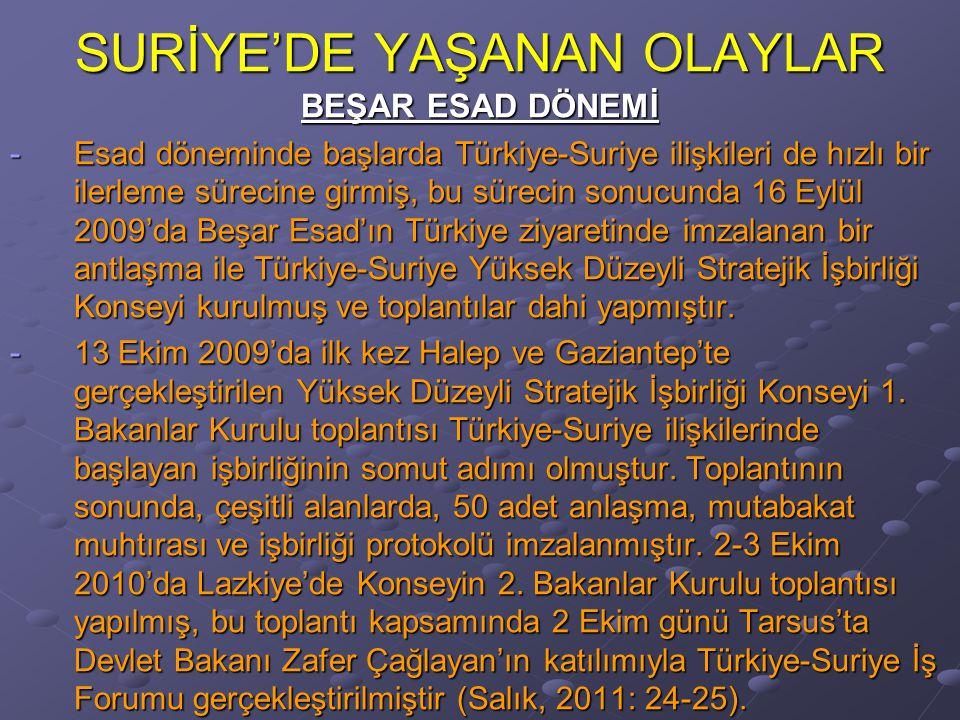 SURİYE'DE YAŞANAN OLAYLAR BEŞAR ESAD DÖNEMİ -Esad döneminde başlarda Türkiye-Suriye ilişkileri de hızlı bir ilerleme sürecine girmiş, bu sürecin sonucunda 16 Eylül 2009'da Beşar Esad'ın Türkiye ziyaretinde imzalanan bir antlaşma ile Türkiye-Suriye Yüksek Düzeyli Stratejik İşbirliği Konseyi kurulmuş ve toplantılar dahi yapmıştır.