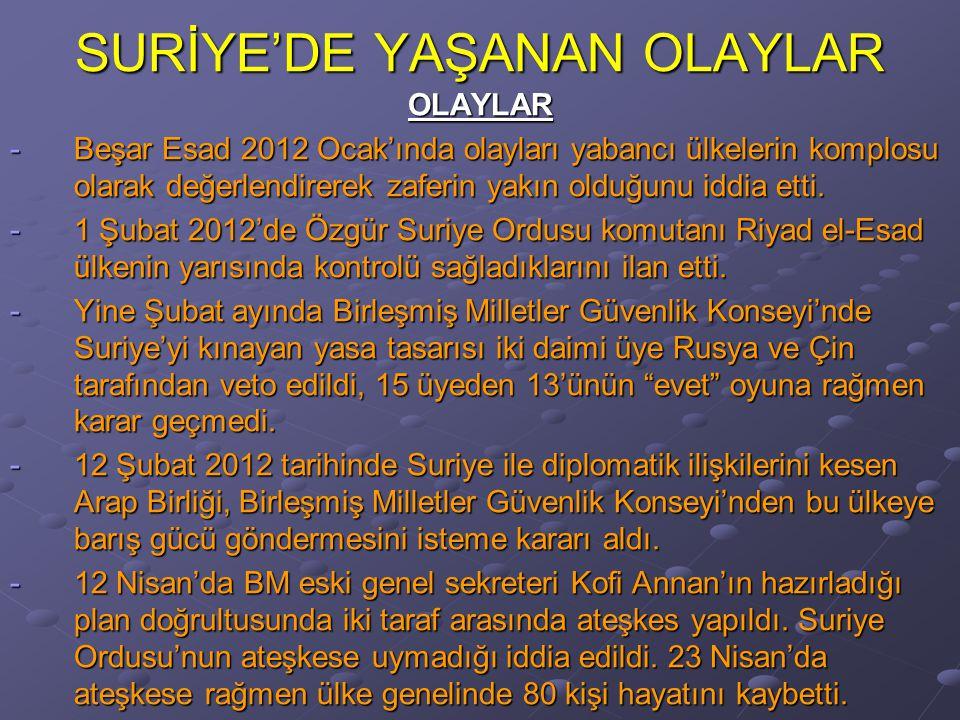 SURİYE'DE YAŞANAN OLAYLAR OLAYLAR -Beşar Esad 2012 Ocak'ında olayları yabancı ülkelerin komplosu olarak değerlendirerek zaferin yakın olduğunu iddia etti.