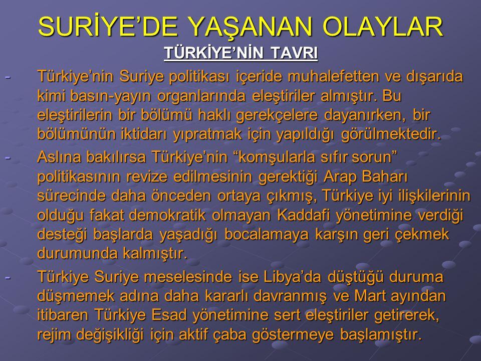 SURİYE'DE YAŞANAN OLAYLAR TÜRKİYE'NİN TAVRI -Türkiye'nin Suriye politikası içeride muhalefetten ve dışarıda kimi basın-yayın organlarında eleştiriler almıştır.