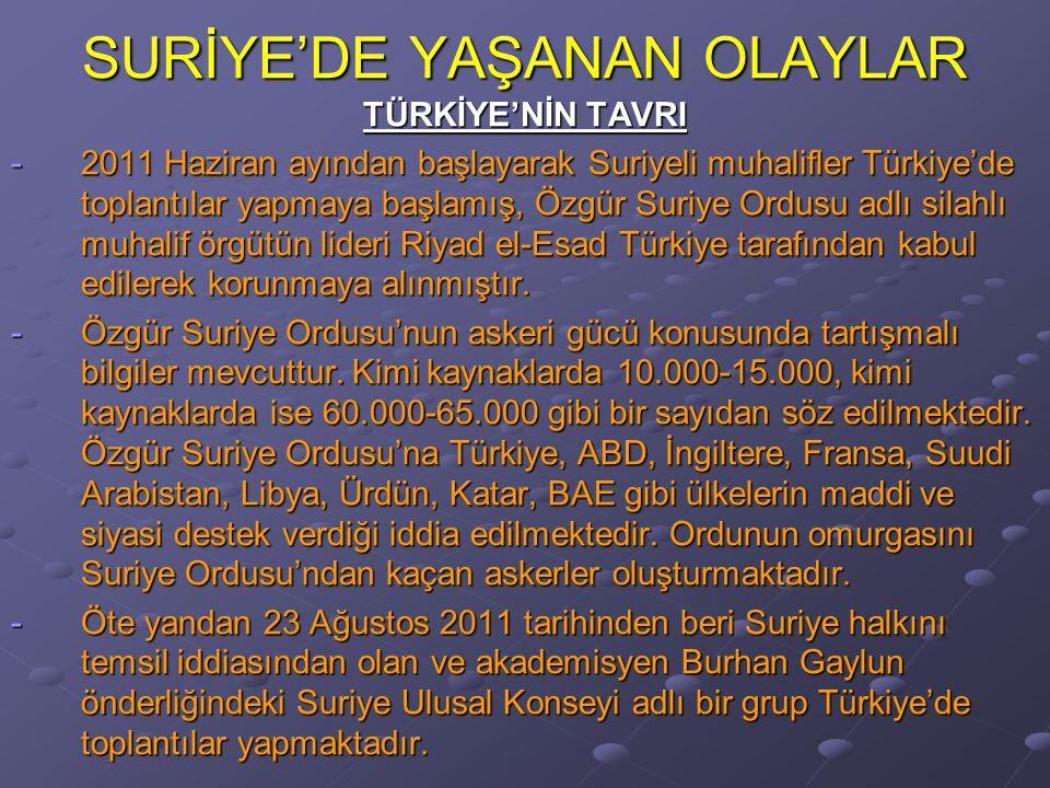 SURİYE'DE YAŞANAN OLAYLAR TÜRKİYE'NİN TAVRI -2011 Haziran ayından başlayarak Suriyeli muhalifler Türkiye'de toplantılar yapmaya başlamış, Özgür Suriye Ordusu adlı silahlı muhalif örgütün lideri Riyad el-Esad Türkiye tarafından kabul edilerek korunmaya alınmıştır.