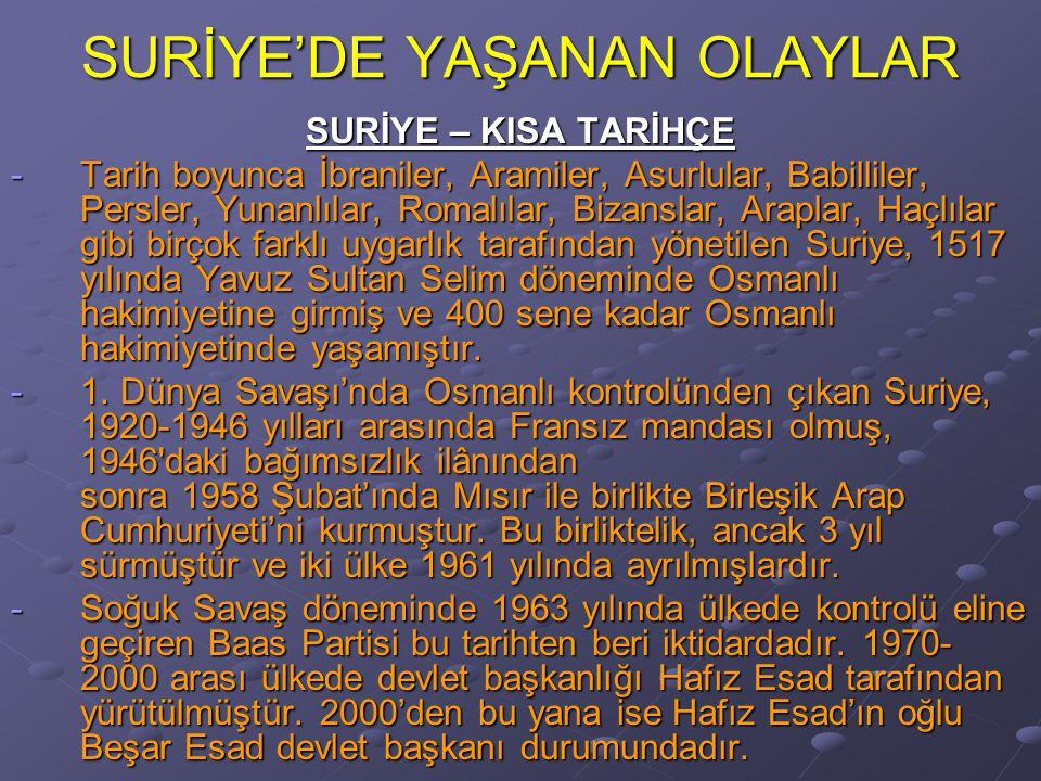 SURİYE'DE YAŞANAN OLAYLAR SURİYE – KISA TARİHÇE -Tarih boyunca İbraniler, Aramiler, Asurlular, Babilliler, Persler, Yunanlılar, Romalılar, Bizanslar, Araplar, Haçlılar gibi birçok farklı uygarlık tarafından yönetilen Suriye, 1517 yılında Yavuz Sultan Selim döneminde Osmanlı hakimiyetine girmiş ve 400 sene kadar Osmanlı hakimiyetinde yaşamıştır.