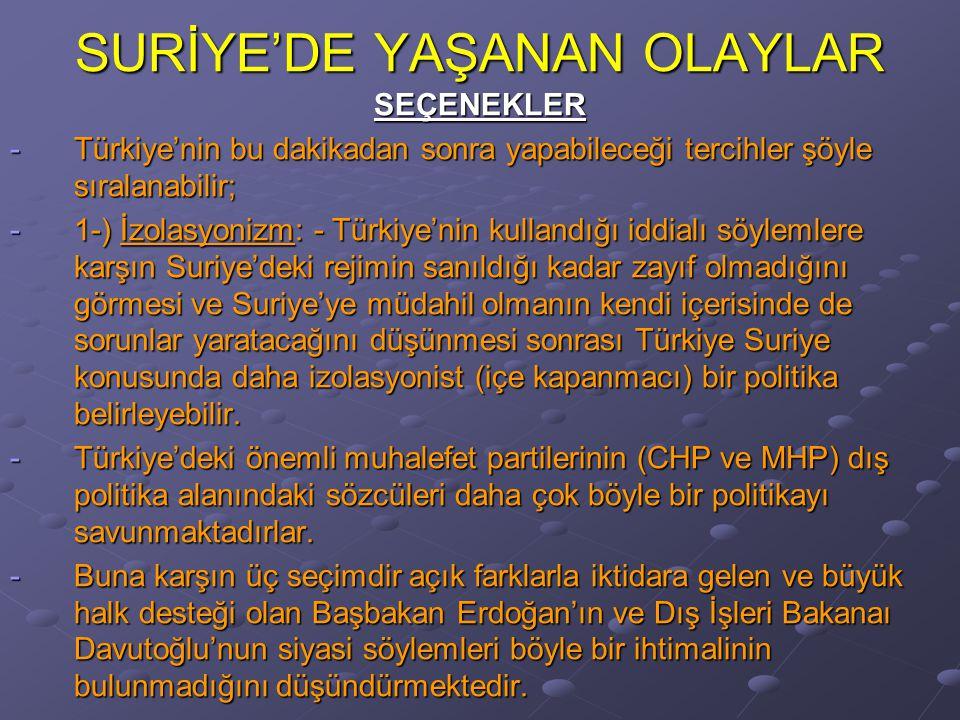 SURİYE'DE YAŞANAN OLAYLAR SEÇENEKLER -Türkiye'nin bu dakikadan sonra yapabileceği tercihler şöyle sıralanabilir; -1-) İzolasyonizm: - Türkiye'nin kullandığı iddialı söylemlere karşın Suriye'deki rejimin sanıldığı kadar zayıf olmadığını görmesi ve Suriye'ye müdahil olmanın kendi içerisinde de sorunlar yaratacağını düşünmesi sonrası Türkiye Suriye konusunda daha izolasyonist (içe kapanmacı) bir politika belirleyebilir.