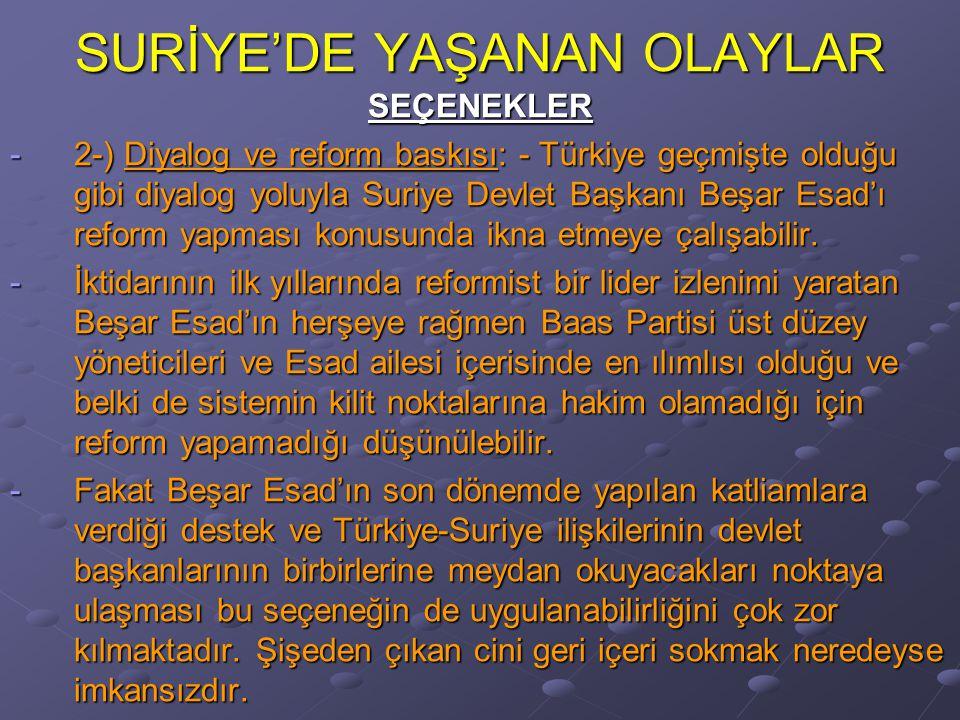 SURİYE'DE YAŞANAN OLAYLAR SEÇENEKLER -2-) Diyalog ve reform baskısı: - Türkiye geçmişte olduğu gibi diyalog yoluyla Suriye Devlet Başkanı Beşar Esad'ı reform yapması konusunda ikna etmeye çalışabilir.