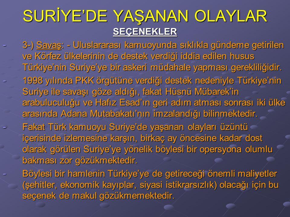 SURİYE'DE YAŞANAN OLAYLAR SEÇENEKLER -3-) Savaş: - Uluslararası kamuoyunda sıklıkla gündeme getirilen ve Körfez ülkelerinin de destek verdiği iddia edilen husus Türkiye'nin Suriye'ye bir askeri müdahale yapması gerekliliğidir.