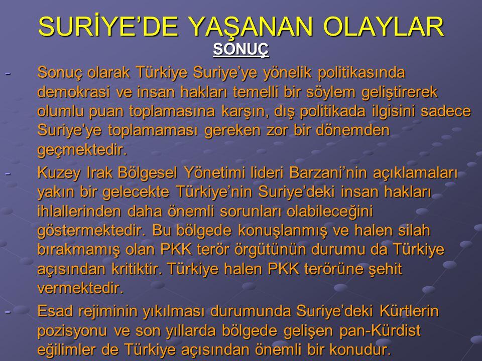SURİYE'DE YAŞANAN OLAYLAR SONUÇ -Sonuç olarak Türkiye Suriye'ye yönelik politikasında demokrasi ve insan hakları temelli bir söylem geliştirerek olumlu puan toplamasına karşın, dış politikada ilgisini sadece Suriye'ye toplamaması gereken zor bir dönemden geçmektedir.