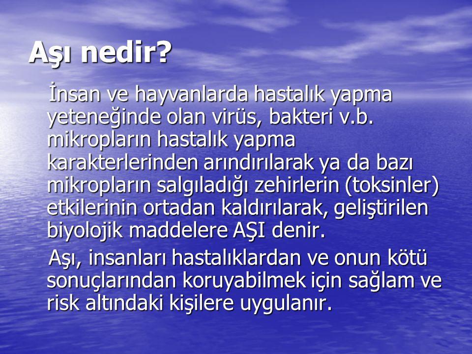Aşı nedir.İnsan ve hayvanlarda hastalık yapma yeteneğinde olan virüs, bakteri v.b.