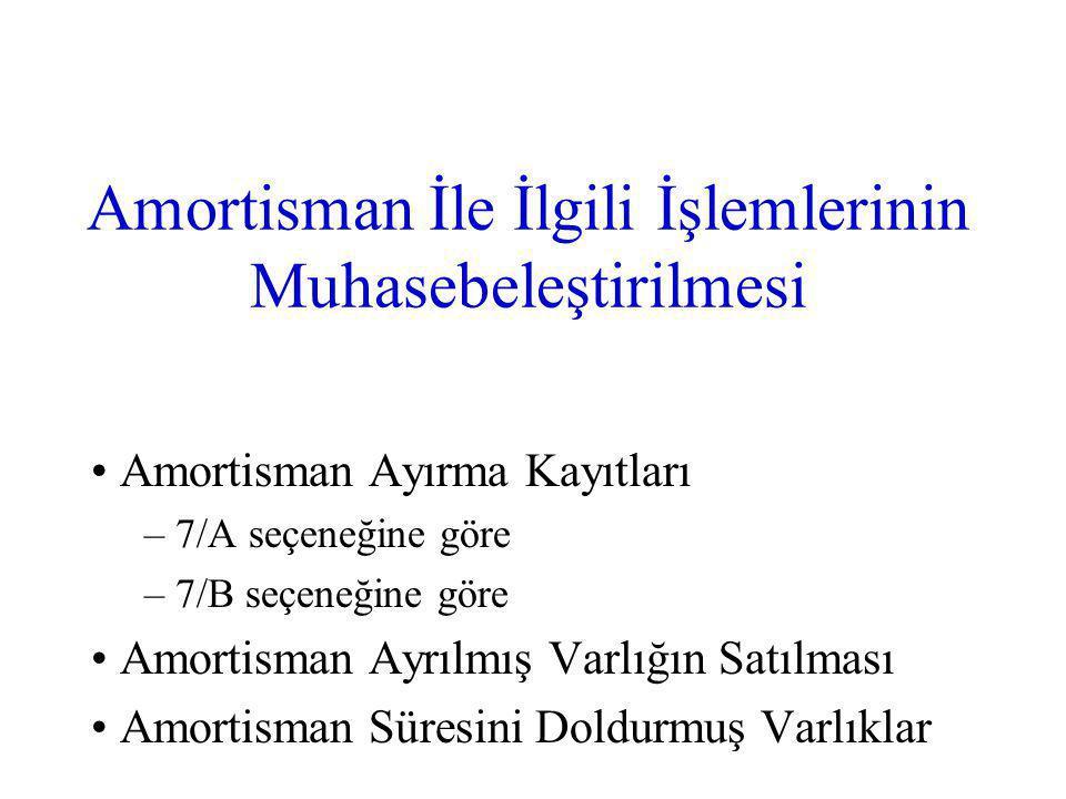 Amortisman İle İlgili İşlemlerinin Muhasebeleştirilmesi Amortisman Ayırma Kayıtları – 7/A seçeneğine göre – 7/B seçeneğine göre Amortisman Ayrılmış Varlığın Satılması Amortisman Süresini Doldurmuş Varlıklar