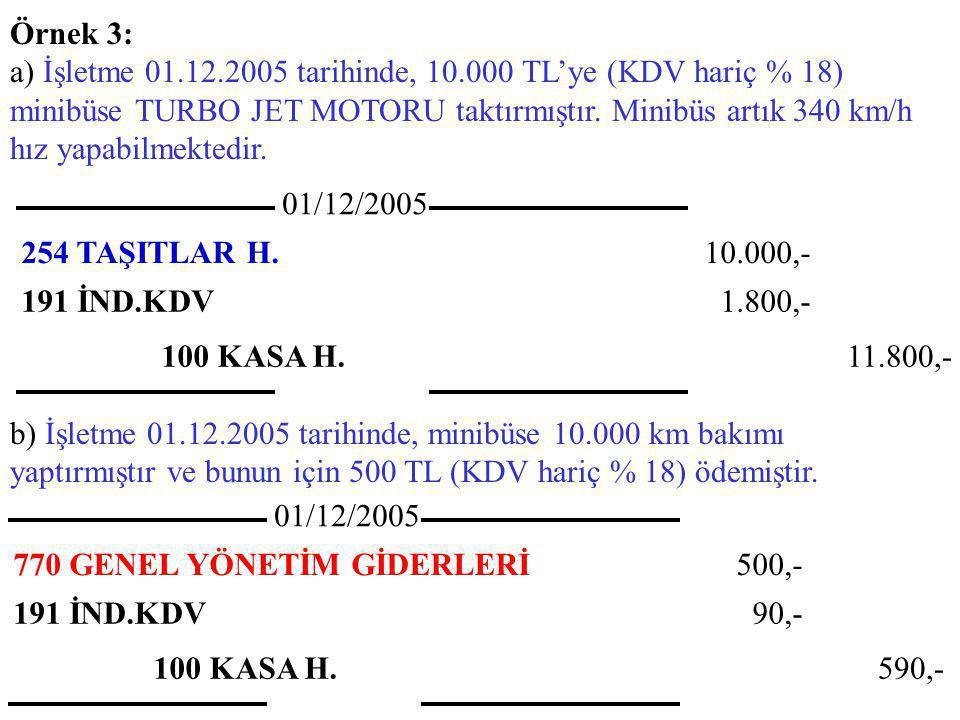 Örnek 3: a) İşletme 01.12.2005 tarihinde, 10.000 TL'ye (KDV hariç % 18) minibüse TURBO JET MOTORU taktırmıştır.