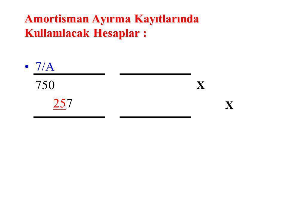 Amortisman Ayırma Kayıtlarında Kullanılacak Hesaplar : 7/A 750 257 XXXX