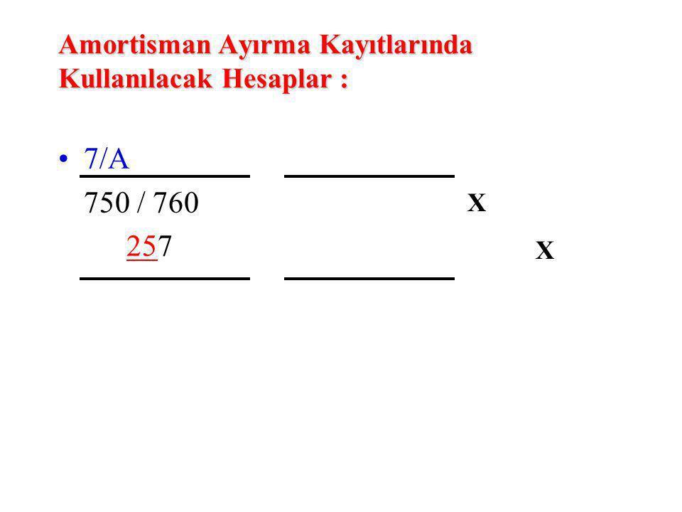 Amortisman Ayırma Kayıtlarında Kullanılacak Hesaplar : 7/A 750 / 760 257 XXXX