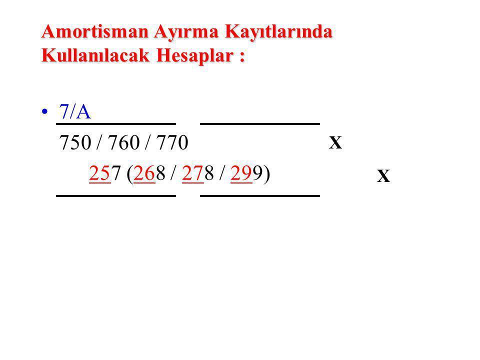 Amortisman Ayırma Kayıtlarında Kullanılacak Hesaplar : 7/A 750 / 760 / 770 257 (268 / 278 / 299) XXXX