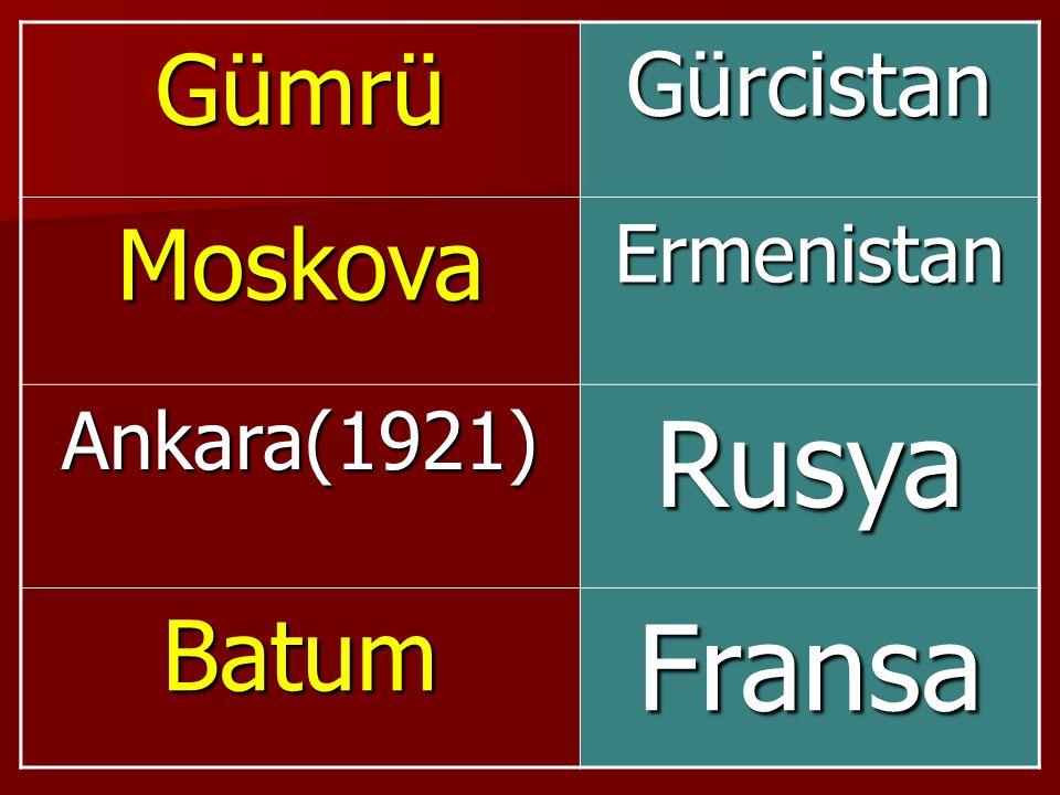 GümrüGürcistan MoskovaErmenistan Ankara(1921)Rusya BatumFransa